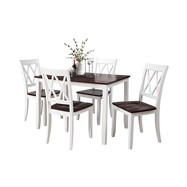 Merax Dining Table Set, Kitchen Dining Table Set for 4, Wood Table and Chairs Set (Cherry + White)