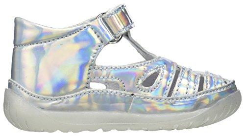 FALCOTTO - Silberne Sandale aus changierendem Kunstleder, ideal zum Laufen lernen und zum Krabbeln, seitlich ein Klettverschluss, Mädchen