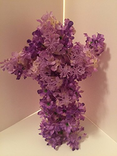 Medium Cross Wall Decor - Purple Hyacinths by Peters Partners Design