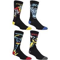 SockShop Hombres 4pair Marvel X-Men Wolverine, la bestia, Cyclops y Colossus calcetines de algodón