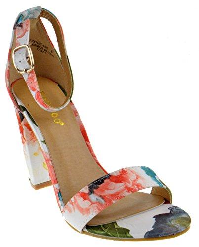 Bamboo Frenzy 45S Womens Open Toe Chunky Heel Sandals White Multi 6