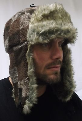 3bf6c29a289 One Size (Extra Large) Mens Trapper Hat with Fur Grey or Brown ...