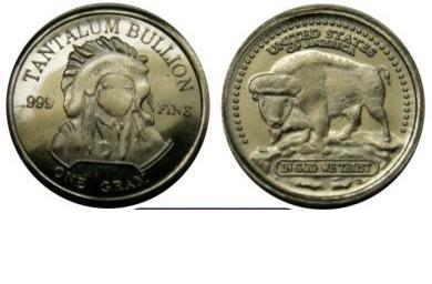 999 Tantal Tantalum Münze Indian Head American Buffalo Rarität