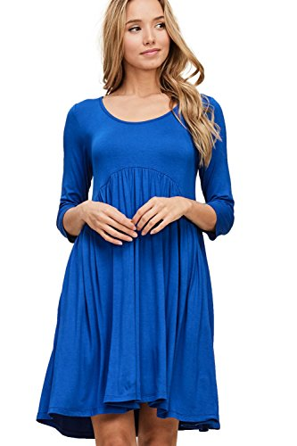 Empire Royal 4 Dress A Swing Waist 3 Line Annabelle Women's Babydoll Sleeve Pocket Z7IggT