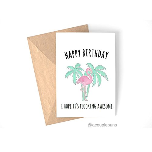 Amazon Flocking Awesome Flamingo Birthday Card Tropical