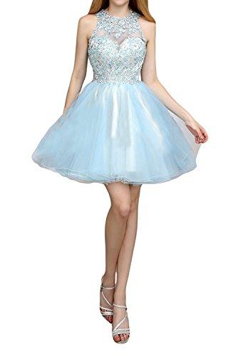 Mini Damen Festlichkleider Flieder Blau Braut Abschlussballkleider Abendkleider La Kurzes Ballkleider Spitze Cocktailkleider Himmel mia xFgPwtqCS