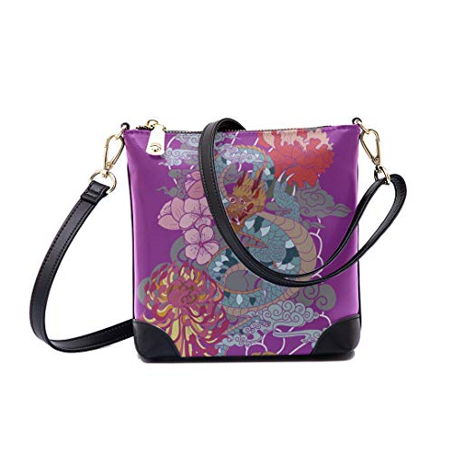 Shoulder Bag Colorful Japanese Dragon Flower Tattoo Style For Women Bucket Crossbody