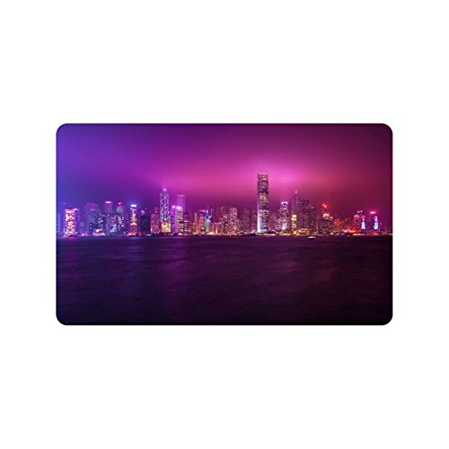Special Design Custom Hong Kong At Night Personalized Doormat Rug Non-Slip Machine Washable Outdoor Indoor Bathroom Kitchen Decor 30 by 18 - Custom Hong Kong