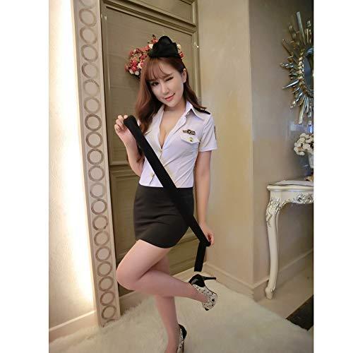Flight Attendant White Halloween Cosplay Costume Lingerie Button Uniform Temptation Sexy Lingerie Suit,S]()