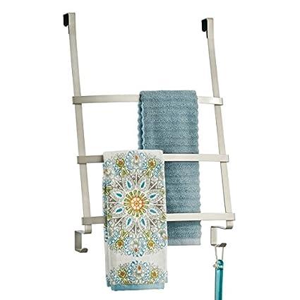 mDesign Toallero para baño - Práctico colgador de sencilla colocación con tres barras y ganchos -