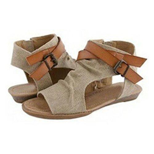 toe Pratique Roman Peep Kaki Sandales Bozevon Ete Chaussures Confortable Femmes Casual FOxq1