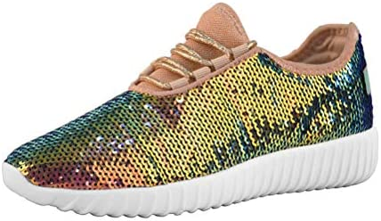 Lucky Step Women Mermaid Sequin Glitter Tennis Sneakers For