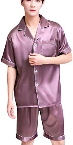 [YYQ-SHOP]パジャマ メンズ 前開き 半袖 ルームウェア 上下セット 部屋着 シルク カジュアル 寝間着 おしゃれ 夏パジャマ 大きいサイズ