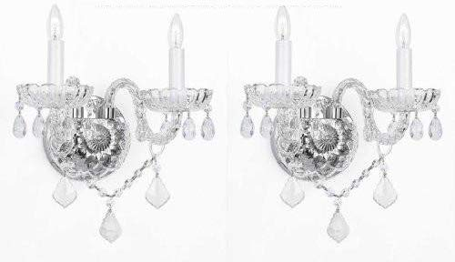 SET OF 2 MURANO VENETIAN STYLE CRYSTAL WALL SCONCES LIGHTING! (Venetian Lamp Wall)