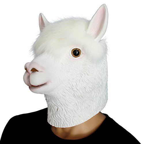 CreepyParty Novelty Halloween Costume Party Latex Animal Head Sounding Mask Alpaca