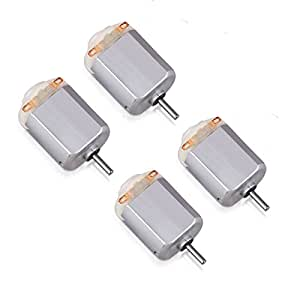 Flormoon DC Motor Mini Electric Motor 3V 19000RPM Brushed Motor for Science DIY Toys 4 Pack(Silver+White)