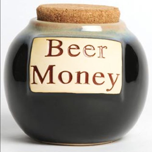 Beer Money Funny Money Bank; Ceramic Jar With Cork Lid, Coin Bank By Tumbleweed (Beer Money Jar)