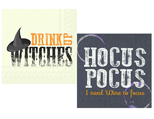 Funny Wine Halloween Themed Cocktail Napkins for Women Fun Ladies Night Variety Pack - Bundle Includes 40 Total Paper Napkins in 2 Different Designs
