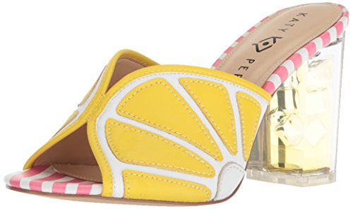 Katy Perry Women's The Loretta Heeled Sandal, Yellow/White, 9 Medium US