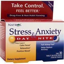 Natrol stress et anxiété Day & Night 60 comprimés Pack 2