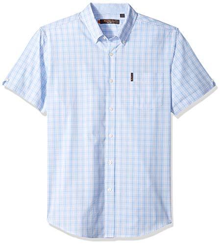 Ben Sherman Men's SS PREP Check Shirt, Light Blue, M