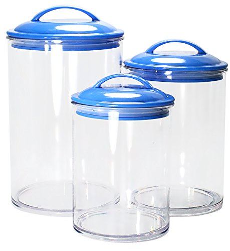 Calypso Basics by Reston Lloyd Acrylic Storage Canisters, Set of 3, Azure