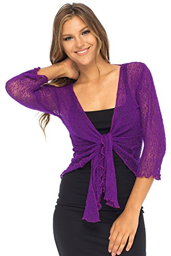 Back From Bali Womens Lightweight Knit Cardigan Shrug Lite Sheer Purple
