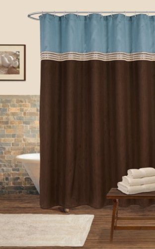 Lush Decor Terra Shower Curtain, Blue/Chocolate, 72 x 72