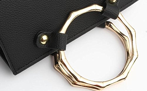 Bolso Cruzado ShoulderBag De Niña Con Hebilla Metálica Anillo Metálico De Cuero Simple Fashion Ricegray