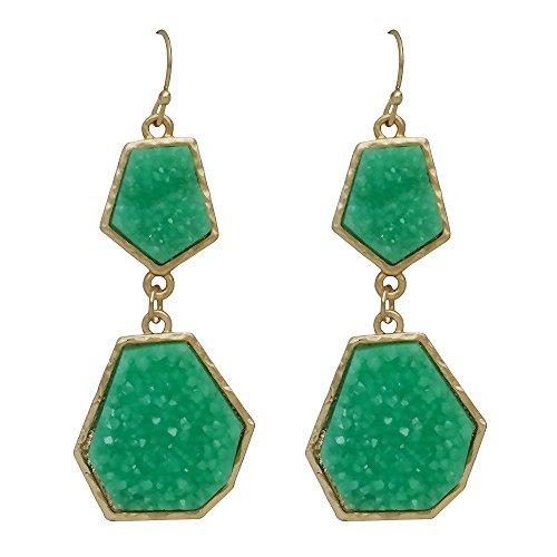 Seraphina New York Double Druzy Linked Dangle Women's Earrings (Green)