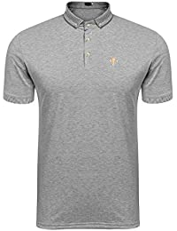 Coofandy Men's Short Sleeve Quick-Dry Stripe Collar Polo Shirt