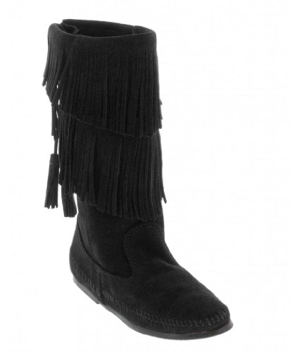 Minnetonka Women's Calf Hi 2-Layer Fringe Boot,Black,7 M US