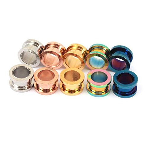 3g Touch Silicone (Gmhkonw 6Pairs Screw Fit Ear Tunnels Stainless Steel Ear Plugs Gauge Expander Kit (Gauge:8mm(0g)))