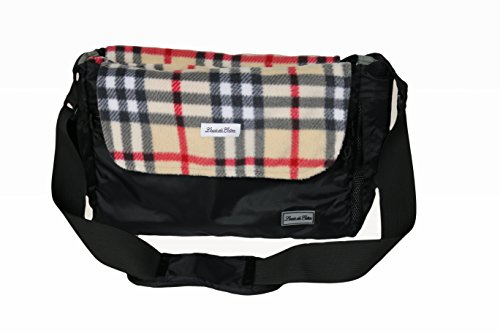 Louie de Coton Made in USA Small Dog Soft Sling Carrier Bag with Removable Fleece Blanket/Liner (Cream Plaid)