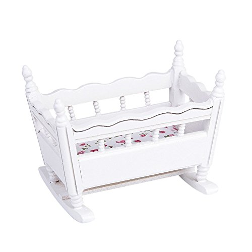 1/12 Baby Crib Dollhouse Miniature White Wooden Nursery Cradle Doll House Furniture Accessories