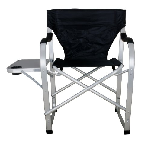 Stylish Camping SL1214 Black Heavy Duty Folding Camping Director Chair with Side table by Stylish Camping