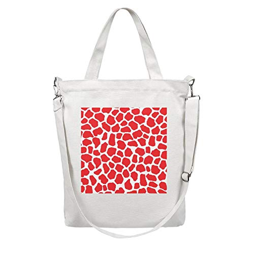 (Red And White Giraffe Print Women Custom Design Canvas shoulder Welcome Bag suitable with supermarket)