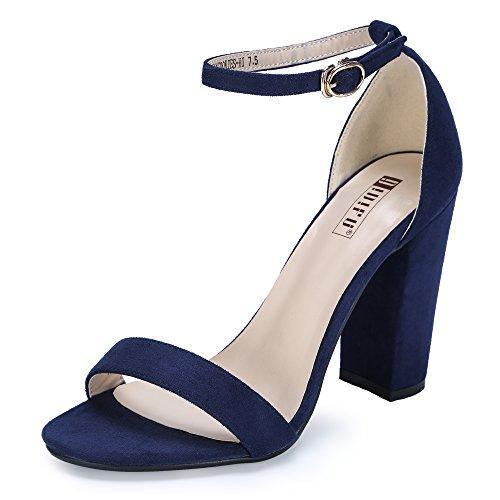 - IDIFU Women's IN4 Cookie-HI Open Toe High Chunky Block Heel Pump Sandal (Blue Suede, 8 B(M) US)