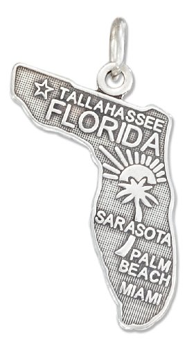 Sterling Silver Antiqued Florida State Charm
