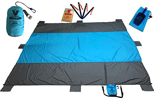 Vcon22 Beach Blanket BLUNKEE Sand Proof 10x9ft Soft QuickDry with Sand Shovel Bottle Opener 8 Sand Pockets Stakes Zippered Pocket. Oversized Outdoor Mat for Picnic Camping Hiking or Festivals by Vcon22