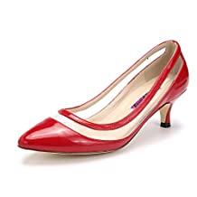 Katypeny Women's Classic Shallow Mouth Pointed Toe Kitten Heel Pump Shoes for Business Work Office