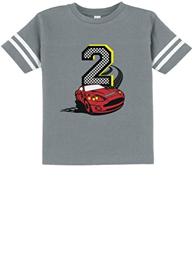 TeeStars - 2nd Birthday Race Car Party 2 Year Old Boy Toddler Jersey T-Shirt 2T Gray