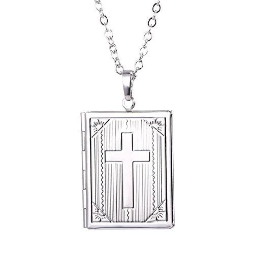 "U7 Locket Necklace with Cross Platinum Plated 2mm Rolo Link Chain 22"" Square Photo Locket Pendant That Hold Picture for Women Girls"