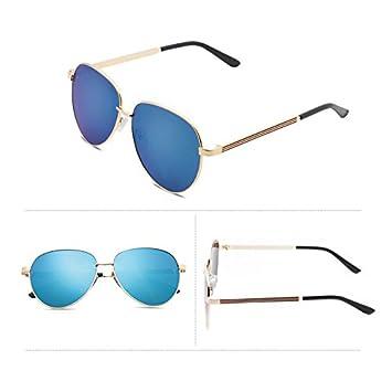 ddcb985b4099 new elegant personalized sunglasses, Ladies Sunglasses, male tide star  glasses, round face, Korean retro eyes,The gold box blue film (bag):  Amazon.co.uk: ...