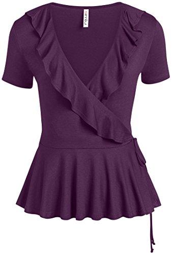 (Simlu Purple Wrap Tops for Women Regular and Plus Size Deep V Neck Short Sleeve Wrap Shirt,Small)