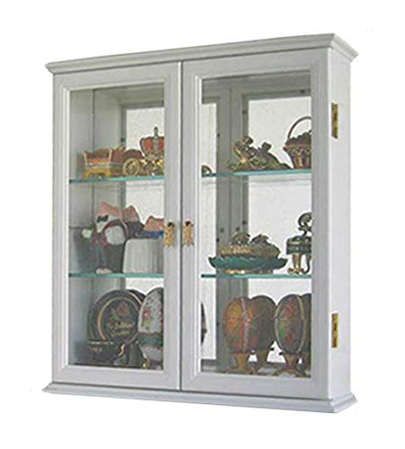 Small Wall Mounted Curio Cabinet/Wall Display Case with Glass Door (White) (Plans Display Cabinet)