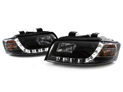 CPW (tm) 02-05 AUDI A4 B6 BLACK E-CODE PROJECTOR HEADLIGHTS WITH S5 STYLE LED STRIP - HALOGEN ONLY