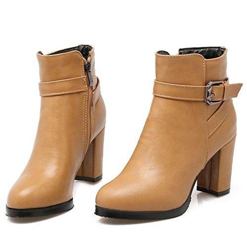 Fashion Ankle Boots Dress High Ivory Women KemeKiss Zipper 5w6Znq
