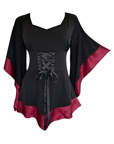 Dare To Wear Victorian Gothic Boho Women's Plus Size Treasure Corset Top in Burgundy 2X