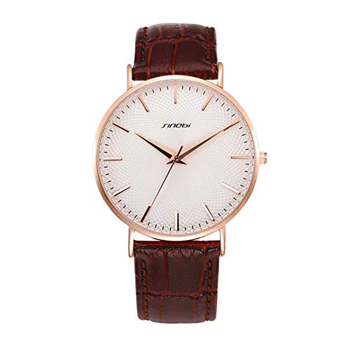 (Meiyiu Smartwatch Men Fashionable Ultrathin Watch with Leather Watchband Stylish Wristwatch Lovers Watch Ornament Gift Men's Rose Shell White dial Brown)